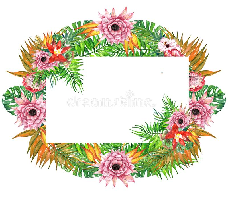 Corona tropicale delle foglie e dei fiori dell'acquerello! Carta floreale esotica dell'acquerello La struttura tropicale dipinta  illustrazione di stock