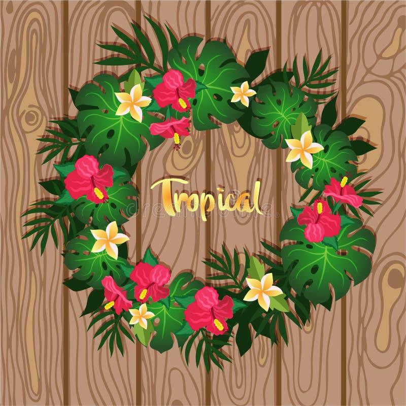 Corona tropicale delle piante sull'immagine di legno di vettore del fondo royalty illustrazione gratis