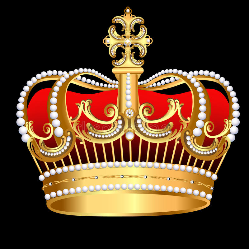 Corona Tsarist d'or avec la perle et la configuration illustration libre de droits