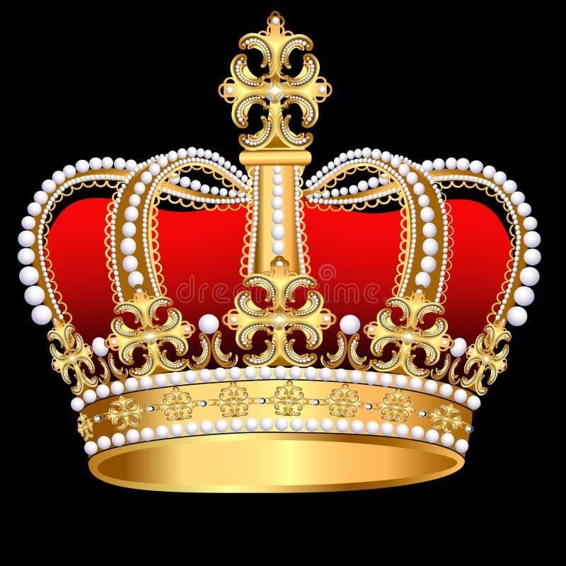 Corona Tsarist d'or avec la perle et la configuration illustration de vecteur