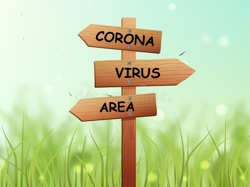 Corona virus area text. On sign board with green area in the background stock image