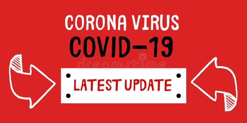Corona virus covid 19 senaste uppdatering på röd bakgrund arkivfoto