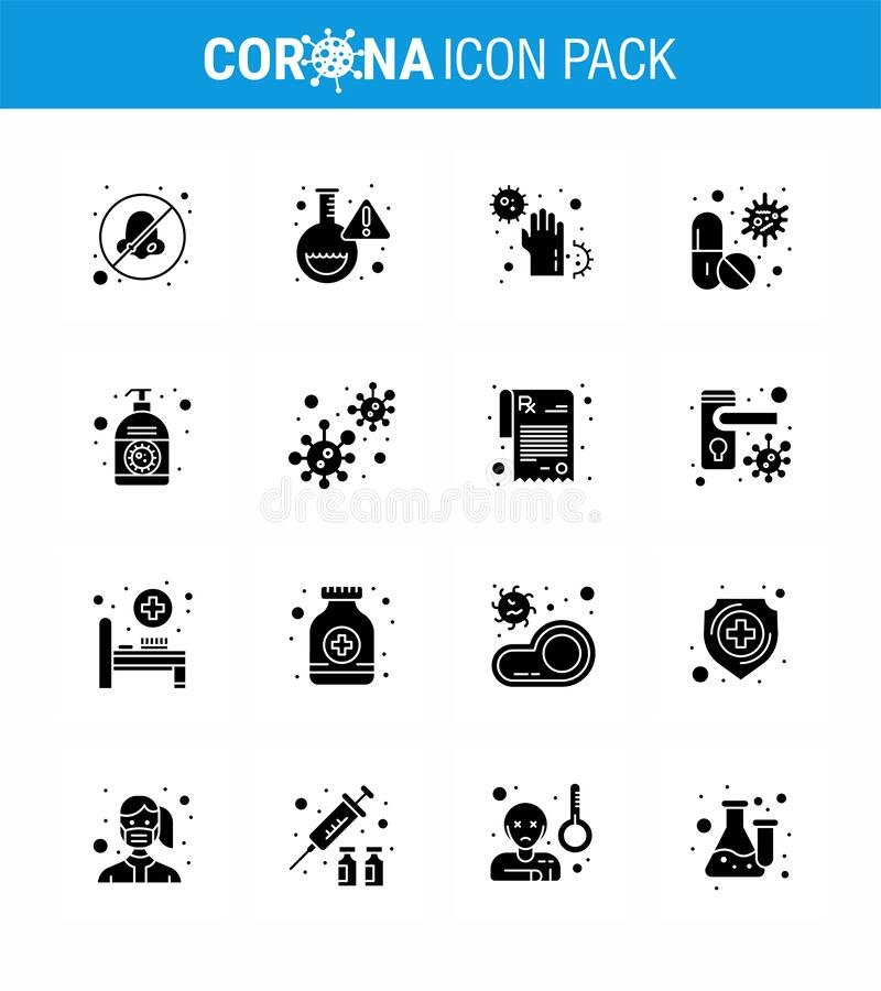 Free Corona Virus Disease 16 Solid Glyph Black Icon Pack Suck As Pill, Capsule, Covid, Antivirus, Infect Royalty Free Stock Images - 180086339