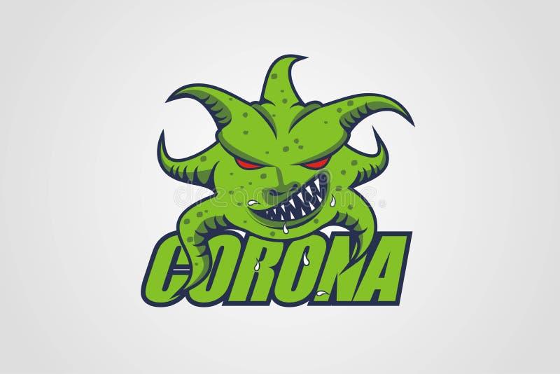 Corona Virus Scary Covid Virus in logo Badge Corona Virus Corona-virus in karakter royalty-vrije stock fotografie