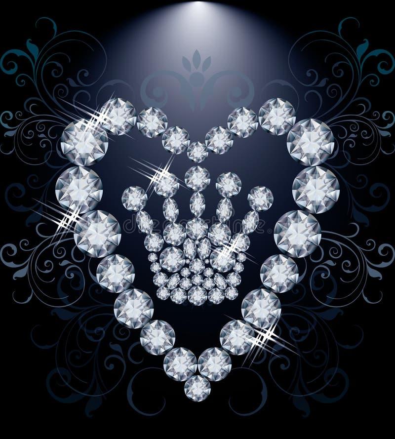 Corona y corazón de Diamond Queen stock de ilustración
