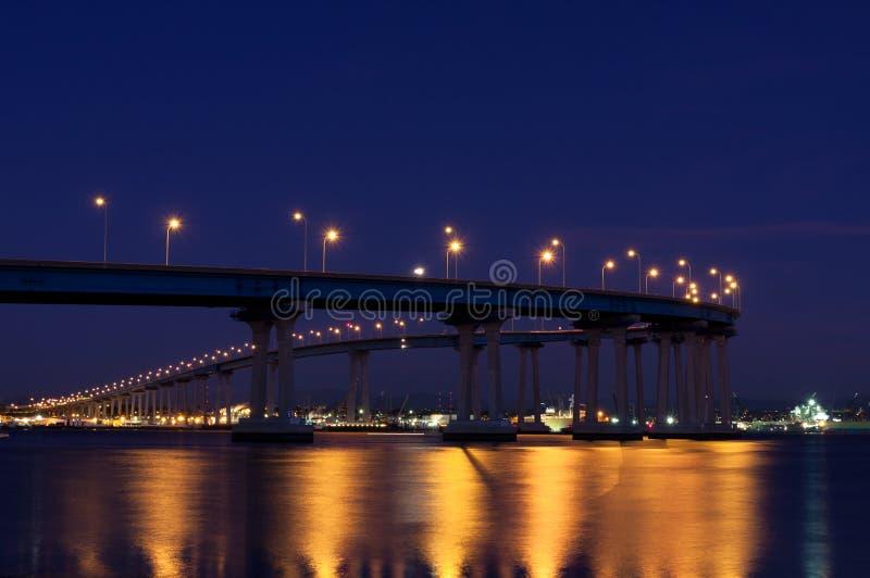 Coronado bridge at night, San Diego, California stock photo