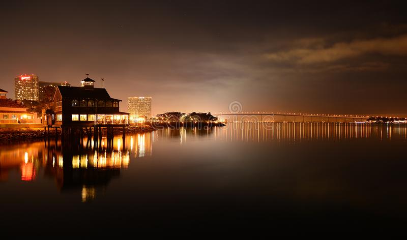 Coronado Bridge and San Diego Pier Cafe stock image