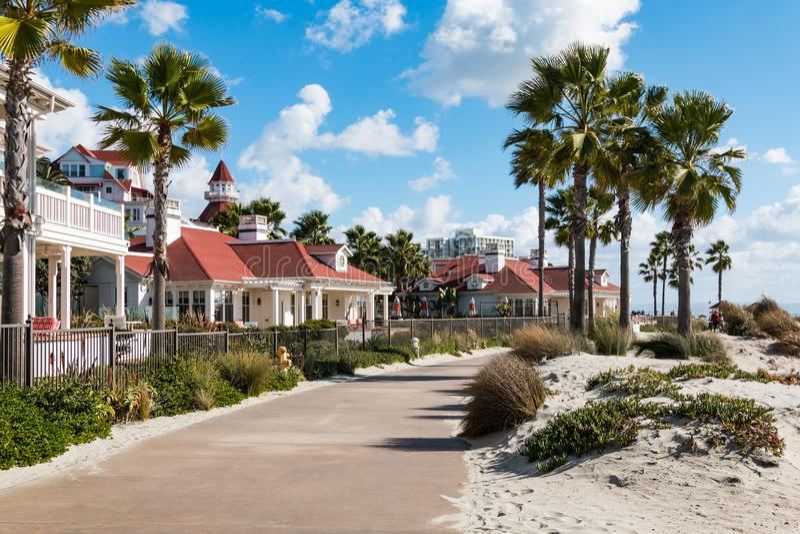Boardwalk Between Beach and Hotel Del Coronado. CORONADO, CALIFORNIA - JANUARY 20, 2018: A boardwalk passes between the beach and the Beach Village Cottages of royalty free stock image
