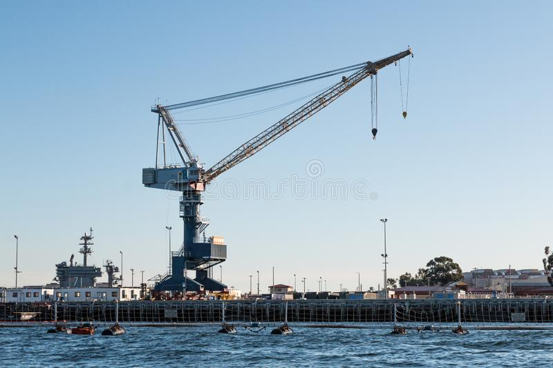 Naval Crane in San Diego, California royalty free stock photography