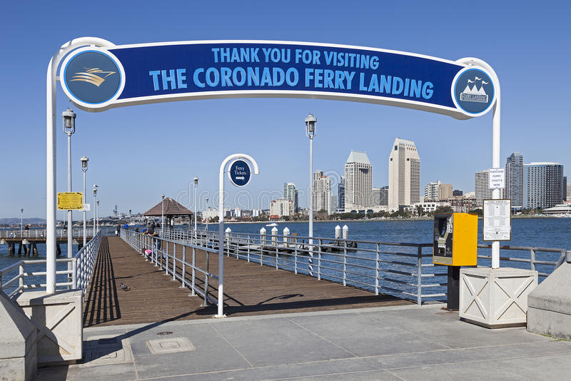 Coronado Ferry Pier & San Diego, California. A View of Coronado Ferry Pier & San Diego. San Diego is second-largest city at the Pacific Ocean in California. It royalty free stock photos
