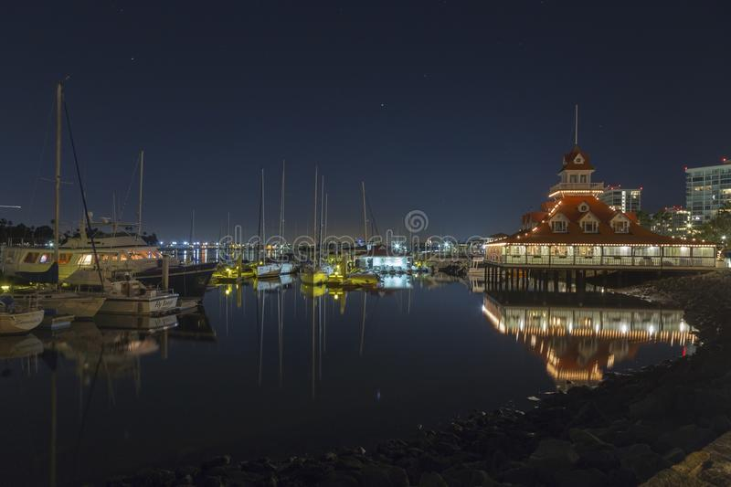 Coronado Sailing Club Marina Night Reflections stock photography