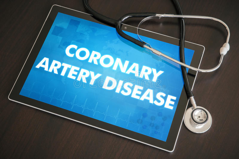Coronary artery disease (heart disorder) diagnosis medical concept on tablet screen with stethoscope.  royalty free stock photo