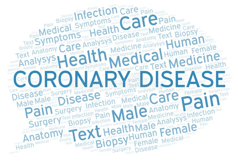 Coronary Disease word cloud. Wordcloud made with text only stock illustration