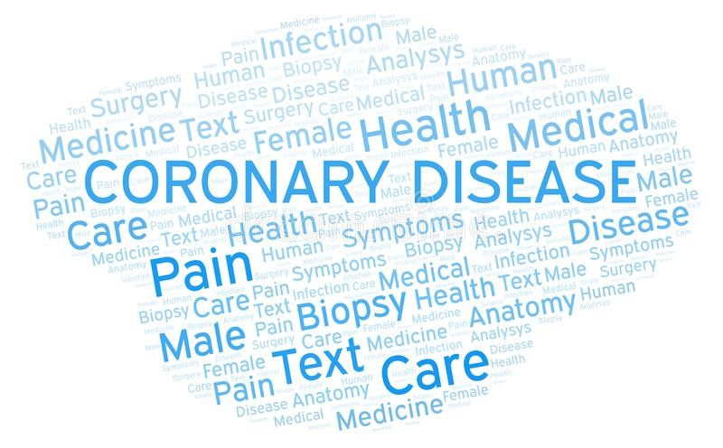 Coronary Disease word cloud. Wordcloud made with text only vector illustration