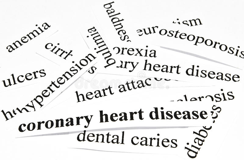 Coronary heart disease. Health care concept of diseases caused by unhealthy nutrition. Health care concept of diseases caused by unhealthy nutrition royalty free stock photos