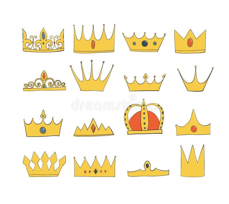 Coronas con las gemas y diamantes fijados Un símbolo de la autoridad Casco del rey Icono que denota éxito e insignias stock de ilustración