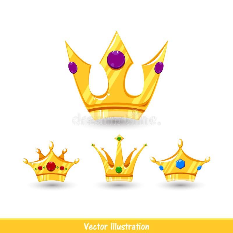 Coronas de la historieta fijadas con la sombra ilustración del vector