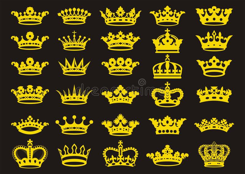 Coronas de las siluetas fijadas stock de ilustración
