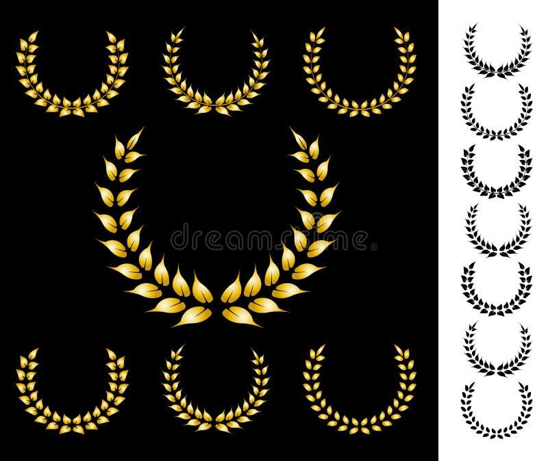 Coronas de oro ilustración del vector