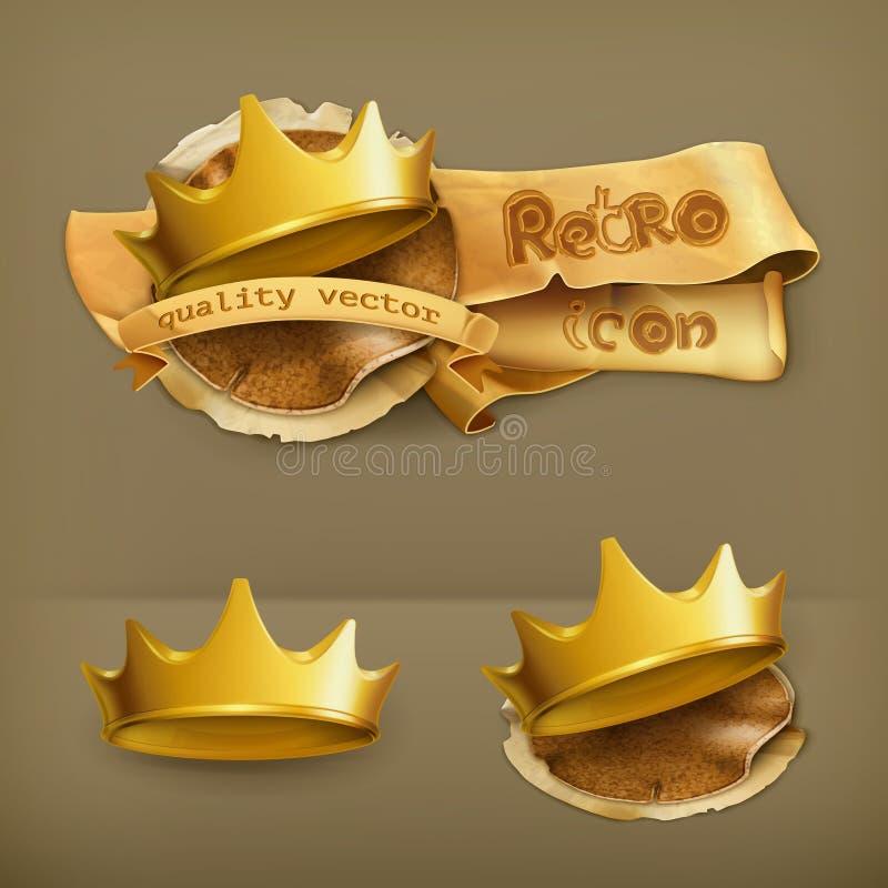 Coronas de oro, iconos del vector stock de ilustración