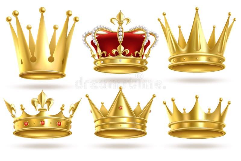 Coronas de oro realistas Rey, corona del oro del príncipe y de la reina y decoración heráldica real de la diadema El monarca 3d a stock de ilustración
