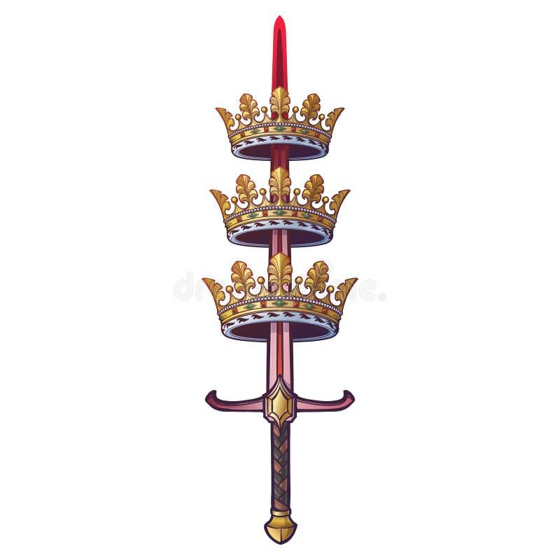 Coronas de perforación de un árbol de la espada ilustración del vector