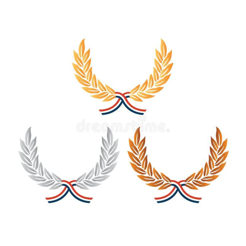 Coronas de plata de bronce del laurel del oro ilustración del vector