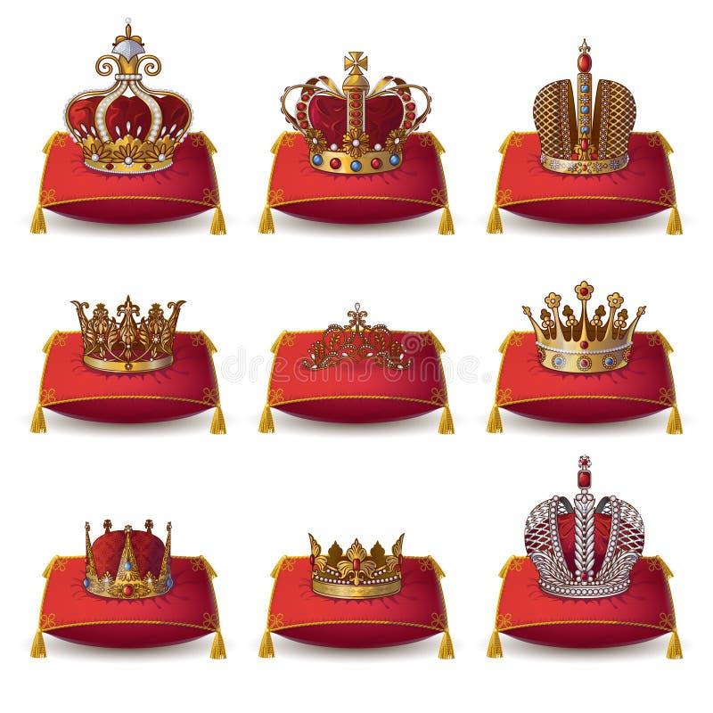 Coronas de reyes y de la colección de la reina ilustración del vector