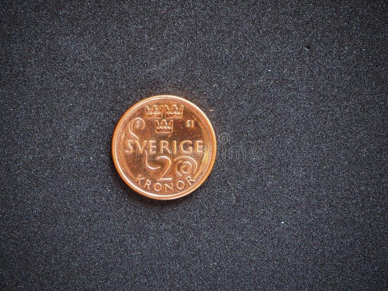 2 coronas de Sverige de la moneda de la corona sueca aislaron fotos de archivo libres de regalías