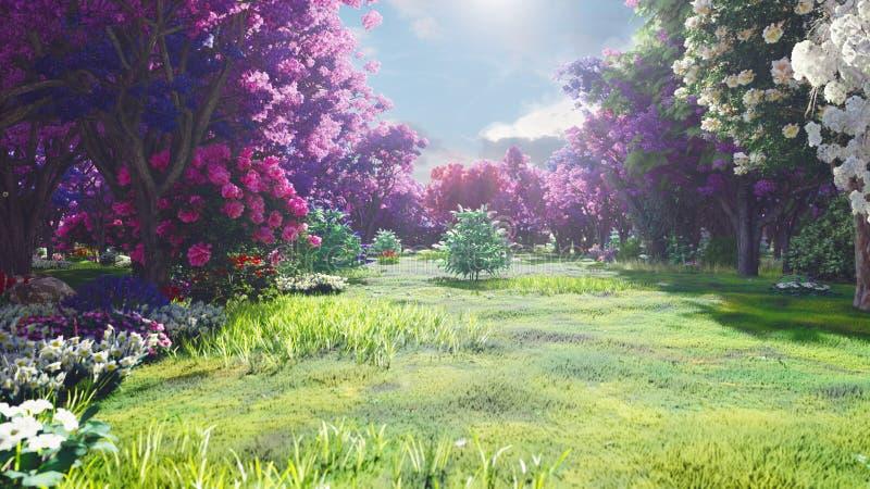 Coronas del bosque de árboles de hadas con luz del sol brillante, dientes de león que vuelan y mariposas Bosque mágico en la sali stock de ilustración