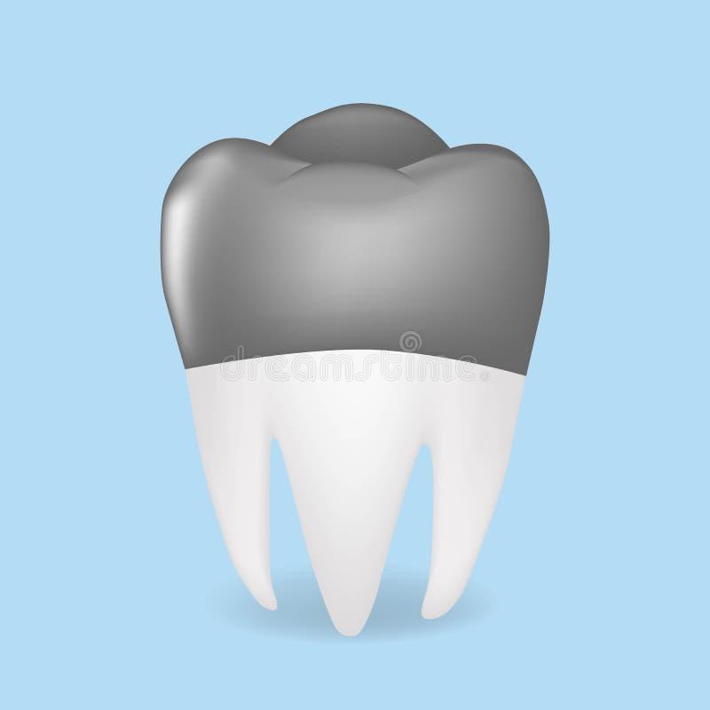 Coronas del metal, concepto del cuidado dental Ejemplo aislado en fondo azul stock de ilustración