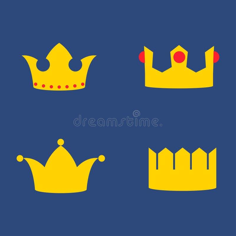 Coronas del oro fijadas ilustración del vector