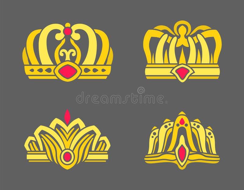 Coronas del oro integradas con los rubíes para el sistema de los derechos libre illustration