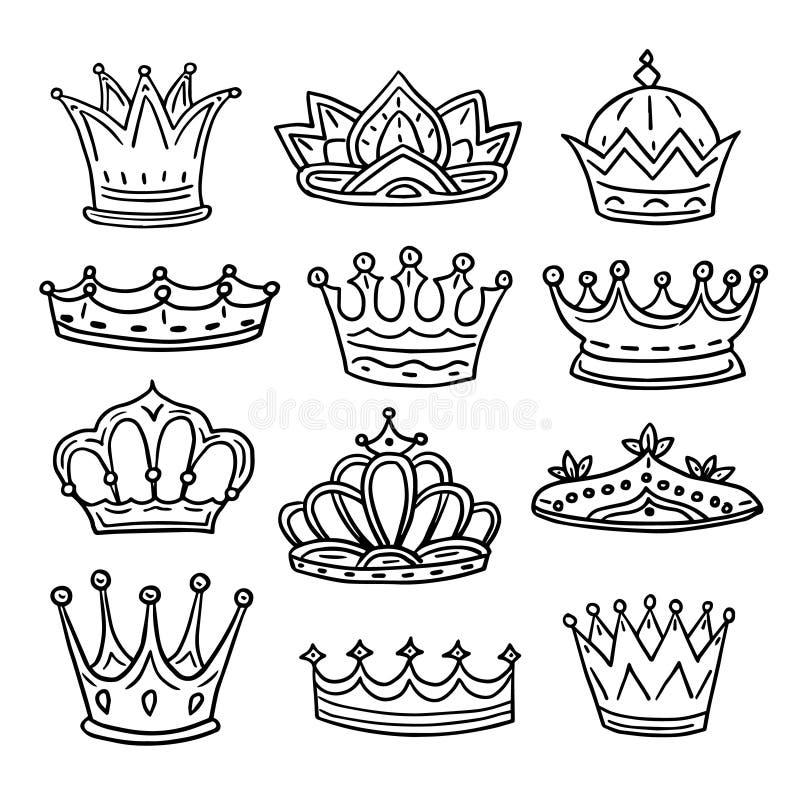 Coronas dibujadas mano Rey, corona del garabato de la reina y tiara de la princesa Iconos aislados bosquejo real del vector del v libre illustration