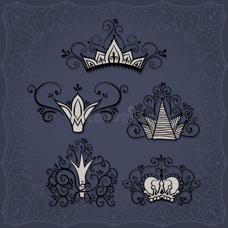 Coronas en estilo del garabato ilustración del vector