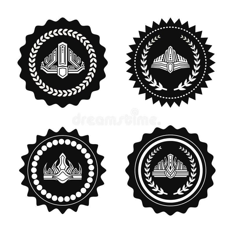 Coronas en los ejemplos monocromáticos de los sellos reales fijados libre illustration
