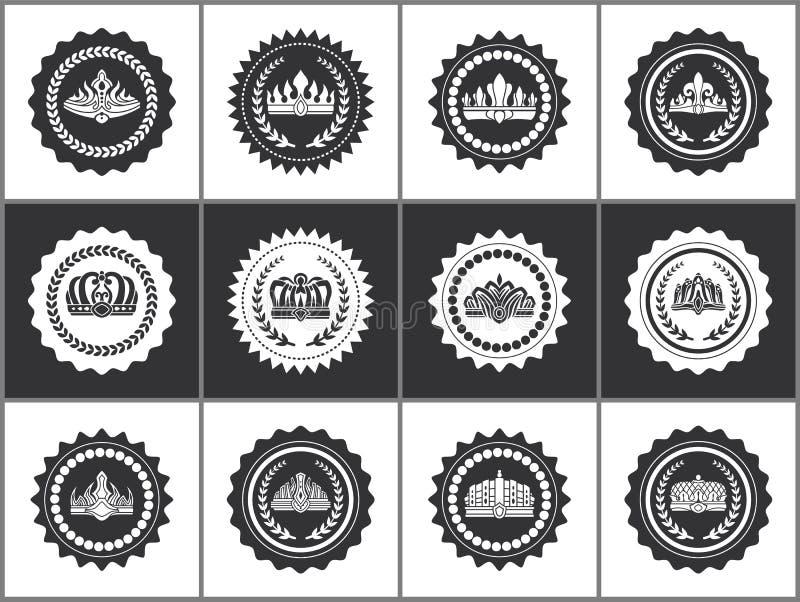 Coronas en sistema blanco y negro de los sellos heráldicos libre illustration