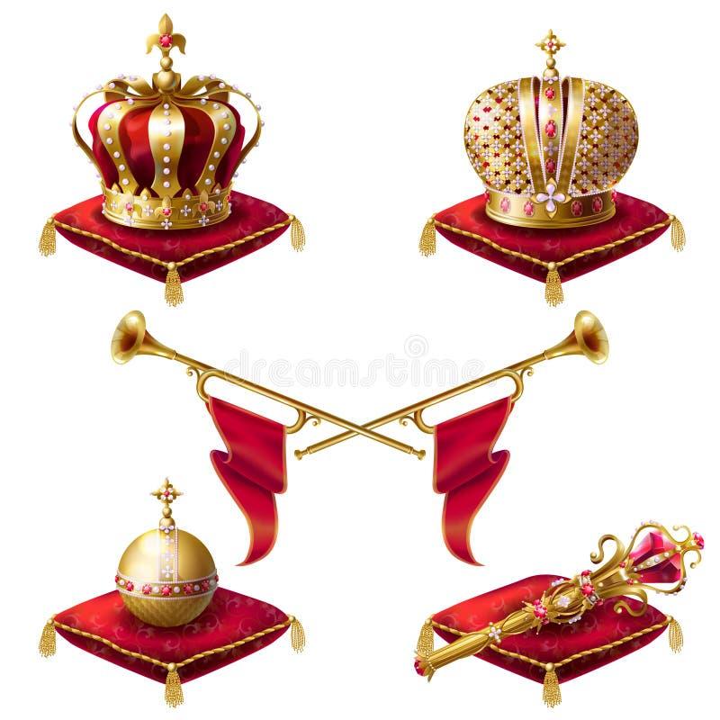Coronas, fanfarrias, cetro y orbe de oro reales ilustración del vector