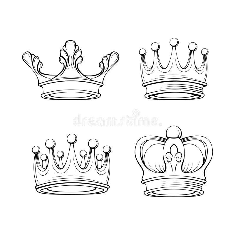 Coronas fijadas Símbolos reales Joyería de la tiara Colección de los elementos del diseño Vector ilustración del vector