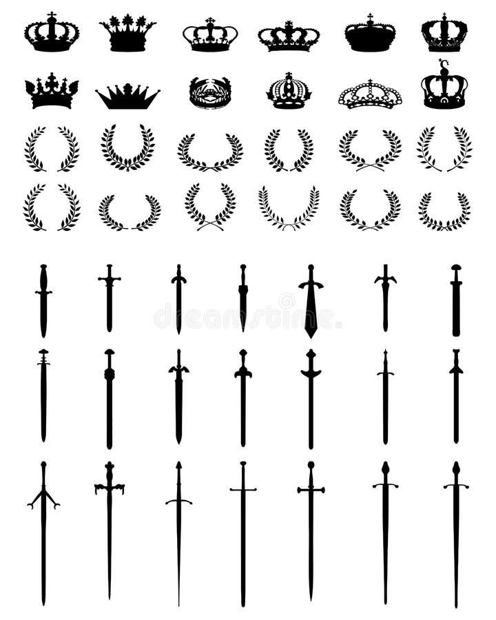 Coronas, guirnaldas y espadas libre illustration