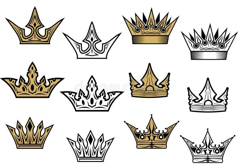 Coronas heráldicas stock de ilustración