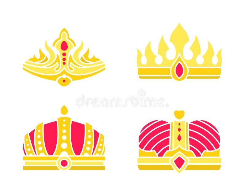 Coronas heráldicas de oro integradas con vector de las gemas libre illustration