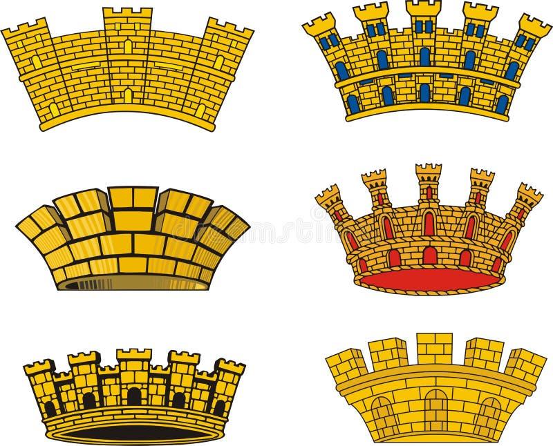 Coronas murales urbanas europeas heráldicas libre illustration