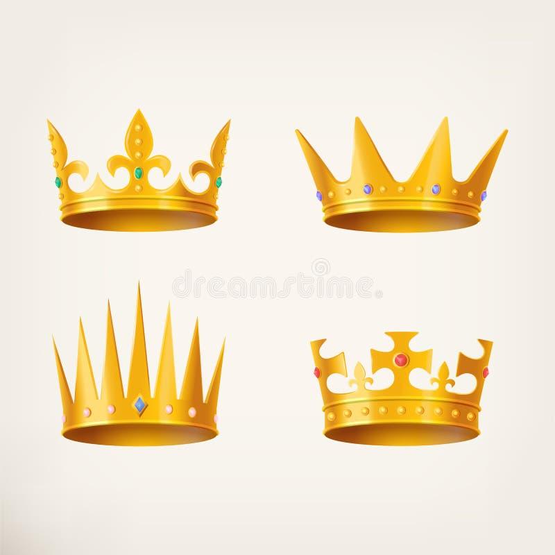 Coronas para el rey o la reina, tocado real 3d ilustración del vector