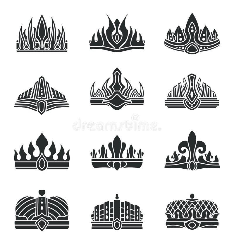 Coronas reales con el sistema inusual del monocromo del diseño stock de ilustración
