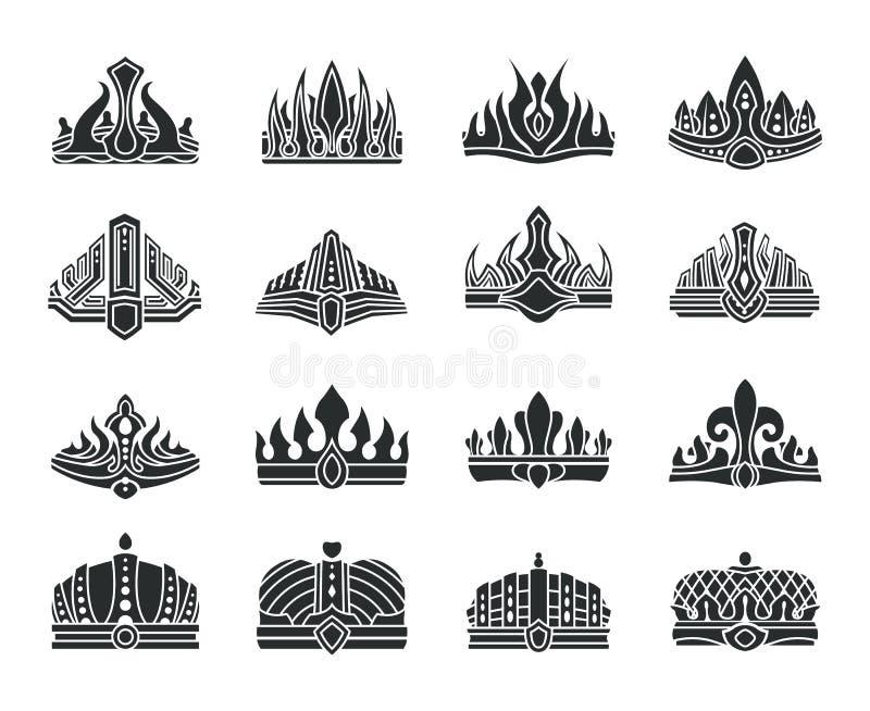 Coronas reales con el sistema inusual del monocromo del diseño libre illustration