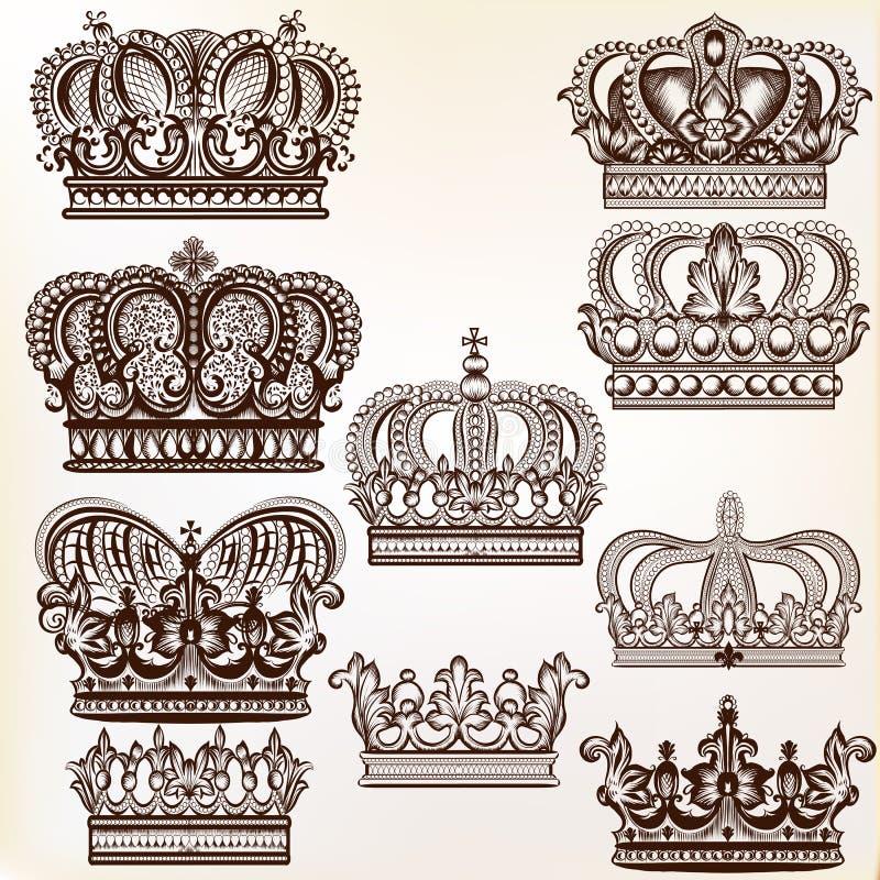 Coronas reales del vector para el diseño libre illustration