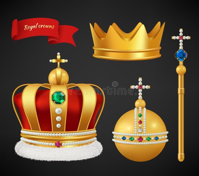 Coronas reales Símbolos medievales superiores de lujo del oro del vector antiguo de los diamantes y de las joyas de la diadema de stock de ilustración