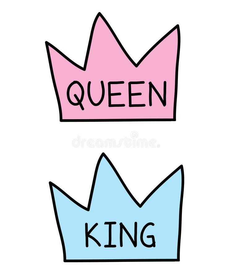 Coronas reina y rey ilustración del vector