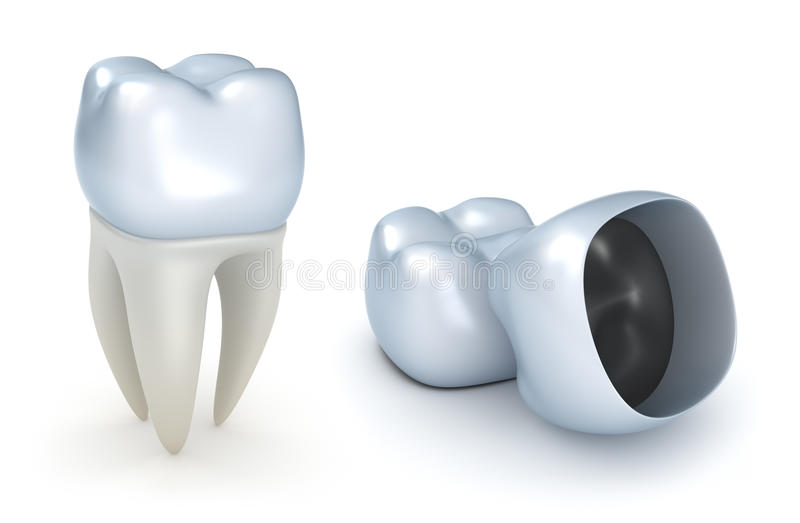 Coronas y diente dentales stock de ilustración